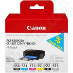 Multipack of Canon PGi-550 and CLi-551 Ink Cartridges Including Grey Cartridge