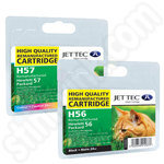 Refilled Multipack of HP 56 and 57 Ink Cartridges