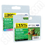 Refilled Twin Pack of HP 338 and HP 343 Ink Cartridges