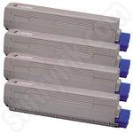 Multipack of Remanufactured Oki 4484450 Toner Cartridges