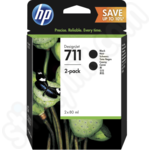 Twin Pack of High Capacity HP 711 Black Ink Cartridges