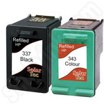 Refilled Twinpack of HP 337 and HP 343 Ink Cartridges