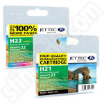 Multipack of High Capacity Refilled HP 21 and 22 Ink Cartridges