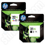 Multipack of High Capacity HP 21 and 22 Ink Cartridges