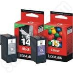 Twin-pack of Lexmark Number 14 and 15 Ink Cartridges
