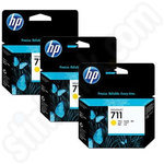 3 Pack of HP 711 Yellow Ink Cartridges