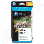 Multipack of HP 303 Ink Cartridges + 40 sheets of 10x15 paper