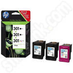 Triple Pack of HP 301 Inks: 2x Black & 1x Tr-Colour Cartridges