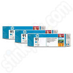Triple Pack of HP 91 Cyan Ink Cartridges