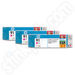 Triple Pack of HP 91 Magenta Ink Cartridges