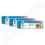 Triple Pack of HP 91 Photo Black Ink Cartridges
