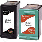 Refilled Twinpack of High Capacity HP 350XL and HP 351XL ink cartridges